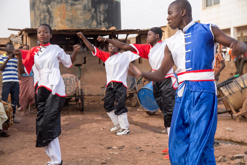 Safi, kung-fu fighter training in Burkina Faso.