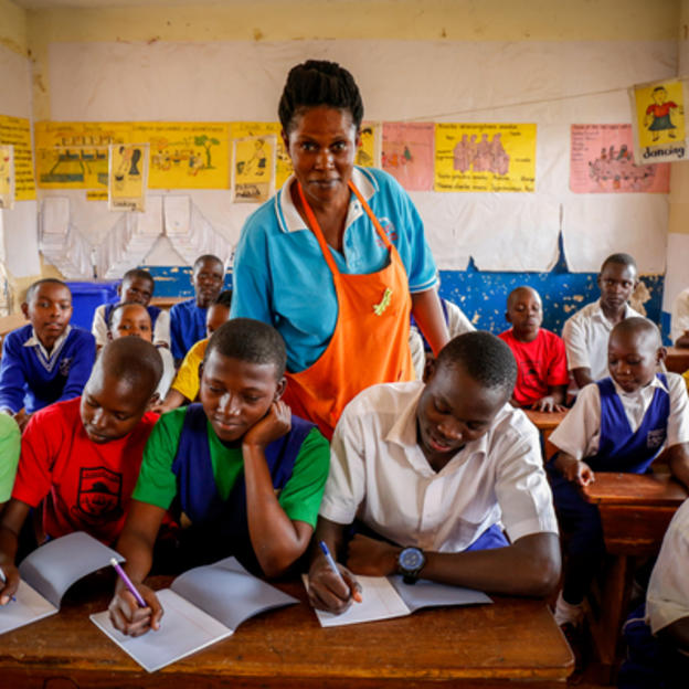 Students in school in Uganda