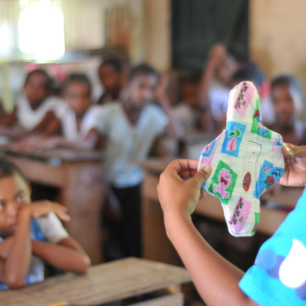 Menstrual Hygiene Management training with WaterAid for boys and girls in Madagascar.