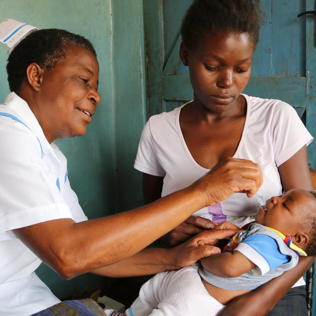 Nurse administers an anti-diarrhea vaccine to a baby at Mwanza Clinic in Monze District, Zambia.