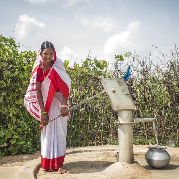 Binan Devi, 30, collects clean water from the new handpump in Kauthiya Kewal Panchayat in the forest of Baradah, Bihar, India.