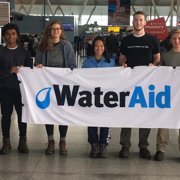 WaterAid supporters at the airport.