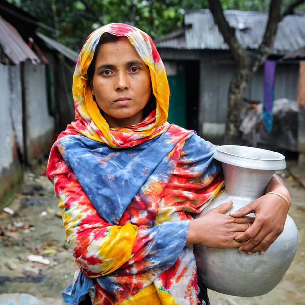 During summer one bucket of water is a luxury for Nurun Nahar, 40, and for rest of the village, Gojariapara, Gazipur, Bangladesh, April 2017