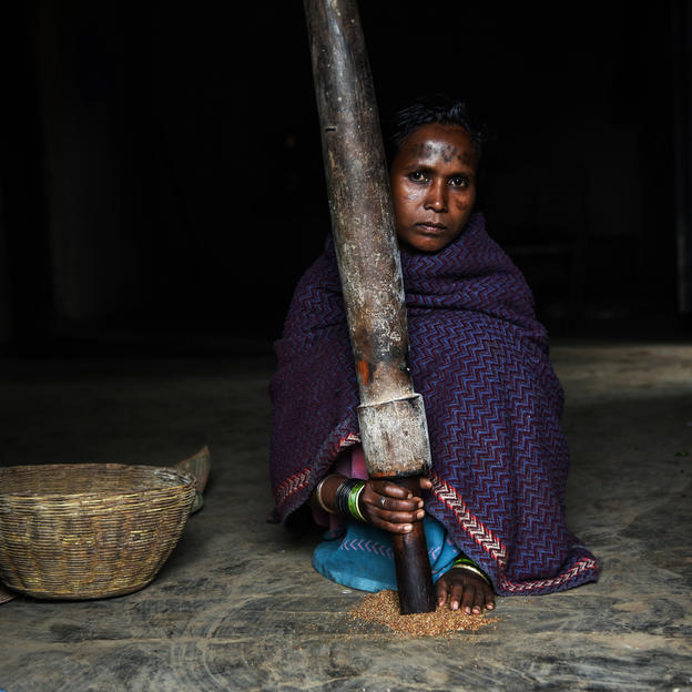 Badri Bai, involved in her daily chores at home in Baiga Chak, Dindori District, India