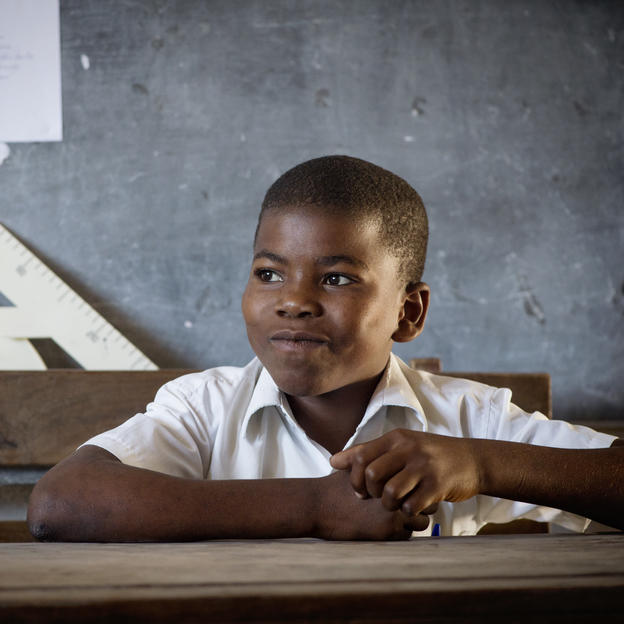Alde, 13, sits in class in Chicoma Primary School in Chicoma Village, Mossuril District, Nampula Province, Mozambique, October 2017.