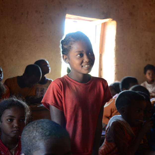 Ze returns to school in Madagascar after the arrival of clean water in her village.
