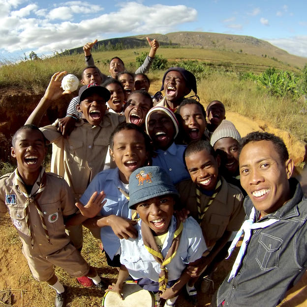 Selfie of Ernest with scouts from Tanjonandriana and Ankazobe on the way Anjezika village. Madagascar.
