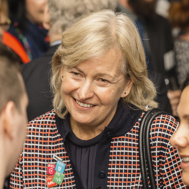 Margaret Batty, WaterAid UK, talks to guests at the WaterAid Supporters Day, London, UK, 2015