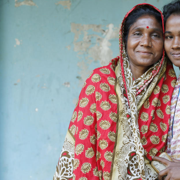 Shamoli Basak, 14 with her mother Sugha Rani, former Union Parishad (union council - local government) member,  37 - has 2 daughters and 2 sons. Khadim Estate, Sylhet. Photo: Abir Abdullah/WaterAid