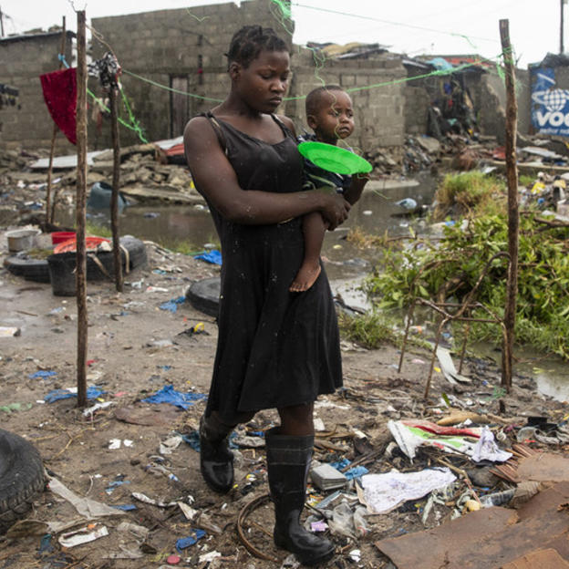 A woman and her child in Mozambique in the aftermath of Cyclone Idai
