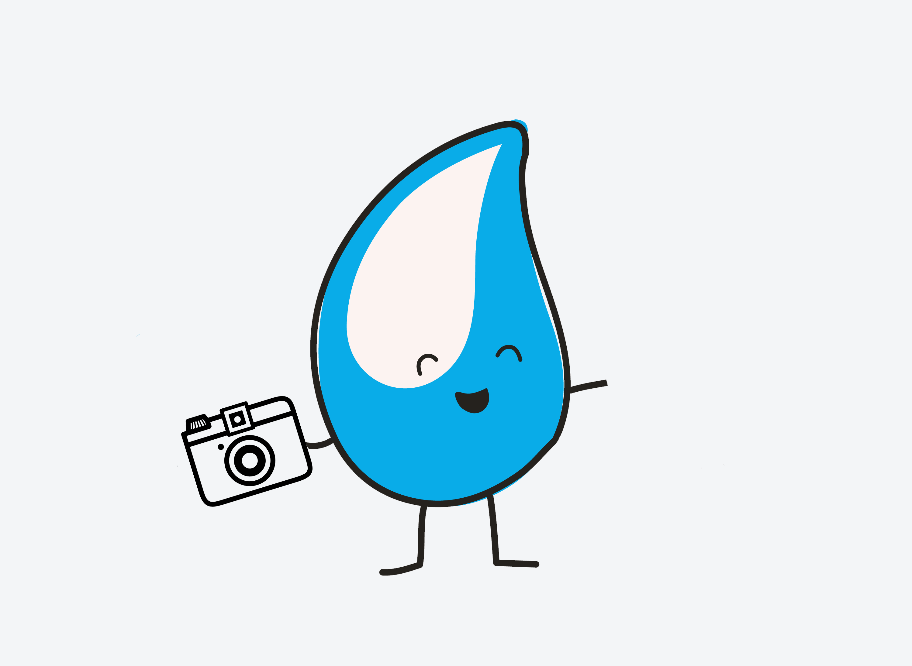 Walter the WaterAid drop with a camera