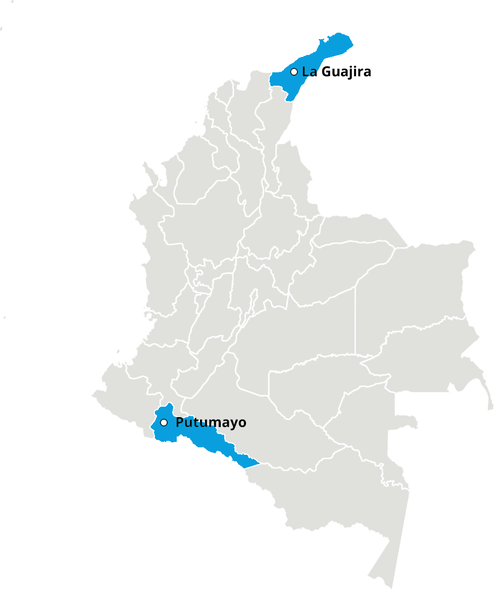WaterAid intervention areas in Colombia (La Guajira and Putumayo highlighted)