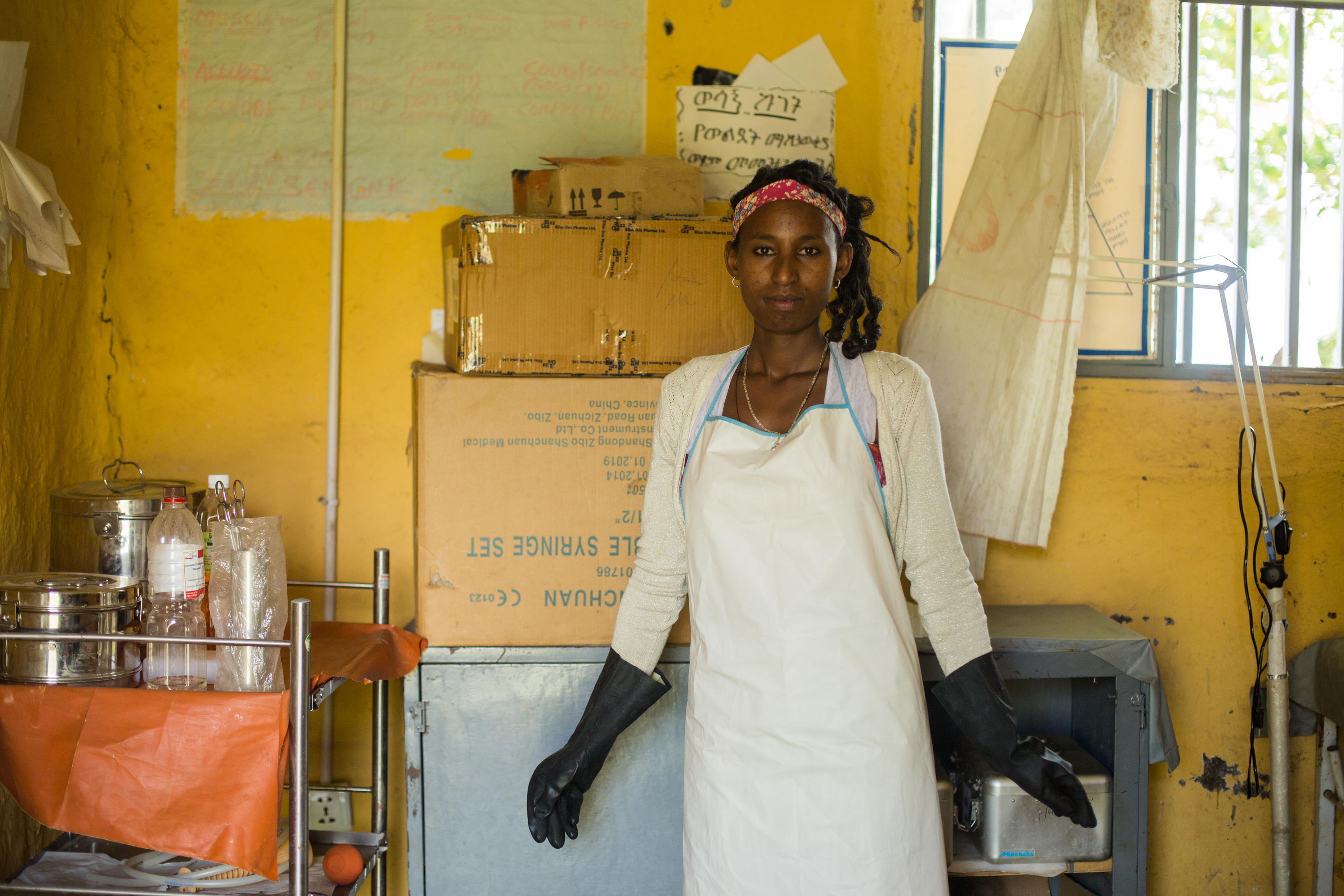 Yehasab Ayenew, 24, a cleaner at Yiraber Health Centre, Jabi Tehnan, West Gojjam, Ethiopia, December 2018.